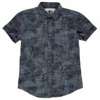 Soulcal Short Sleeve Fashion Shirt Junior Boys Mid Blue Floral Детски ризи
