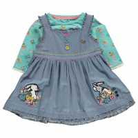 Бебешки Комплект Момичета Crafted Mini 2 Piece Dress Set Baby Girls Denim pinny Детски поли и рокли