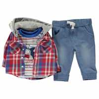 Crafted Mini 3 Piece Shirt Set Baby Boys Red Check Детски ризи