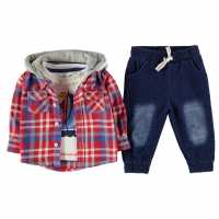 Crafted Three Piece Shirt Set Baby Boys Red Check Детски ризи