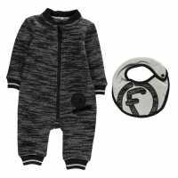Firetrap Бебешки Гащеризон Fleece Romper Suit Baby Boys Charcoal Бебешки дрехи