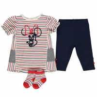 Character Бебешки Комплект В 3 Части Момичета 3 Piece Dress Set Baby Girls Minnie Mouse Детски поли и рокли