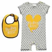 Disney Бебешки Гащеризон Short Sleeve Romper Suit Baby Mickey Mouse Бебешки дрехи