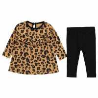 Crafted Бебешки Комплект Момичета Long Sleeve Dress Set Baby Girls Leopard Print Детски поли и рокли