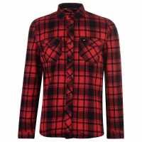 Oneill Мъжка Риза Check Flannel Shirt Mens Red AOP Мъжко облекло за едри хора