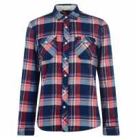 Oneill Мъжка Риза Check Flannel Shirt Mens Blue AOP Мъжко облекло за едри хора