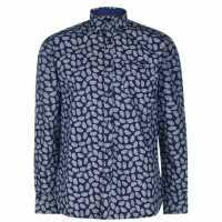 Pierre Cardin Мъжка Риза Long Sleeve Aop Shirt Mens Navy/Wht AOP Мъжко облекло за едри хора
