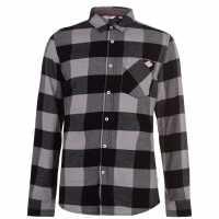 Lee Cooper Мъжка Риза Дълъг Ръкав Soft Long Sleeve Shirt Mens Black Check Мъжки ризи
