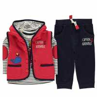 Crafted Mini 3 Piece Jacket Set Babies BB Red Gilet Детски полар