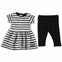 Nufc Рокля На Ивици Stripe Dress Set Baby Girl White/Black Футболни тениски на Нюкасъл Юнайтед