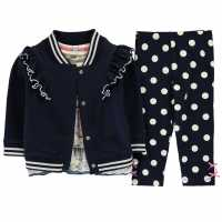 Crafted Mini 3 Piece Set Girls Infant Navy Frill Детски полар