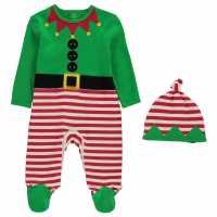 The Spirit Of Christmas Novelty Onesie Baby Unisex Green Elf Бебешки дрехи