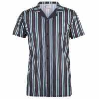 Soulcal Мъжка Тениска Print Shirt Mens Nvy/Wht Stripe Мъжко облекло за едри хора