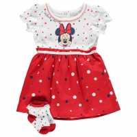 Character Бебешки Комплект Момичета 2 Piece Dress Set Baby Girls Minnie Spots Детски поли и рокли