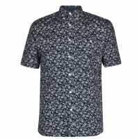 Pierre Cardin Мъжка Риза Short Sleeve Geometric Shirt Mens Navy Paisley Мъжко облекло за едри хора