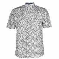 Pierre Cardin Мъжка Риза Short Sleeve Geometric Shirt Mens Wht Paisley Мъжко облекло за едри хора