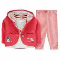 Crafted Бебешки Комплект Момичета Three Piece Jacket Set Baby Girls Pink Jacket Бебешки дрехи