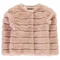 Firetrap Textured Fur Coat Baby Girls ROSE SMOKE Детски якета и палта
