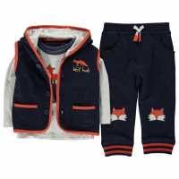 Crafted Mini Бебешки Комплект С Елече 3 Piece Gilet Set Baby Boys Navy Бебешки дрехи