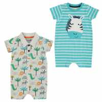 Crafted Essentials 2 Pack Rompers Baby Blue Бебешки дрехи