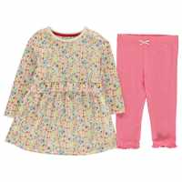 Crafted Essentials Piece Crafted Pink Ditsy Dress Girls Pink Ditsy Бебешки дрехи