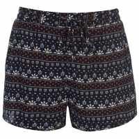 Soulcal Дамски Шорти Print Shorts Ladies Black Дамски къси панталони