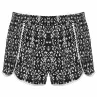 Golddigga Дамски Шорти Bobble Shorts Ladies Black/White AOP Дамски къси панталони