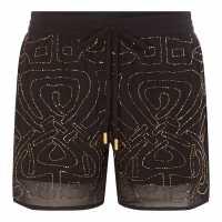 Biba Logo Embellished Shorts Black Дамски къси панталони