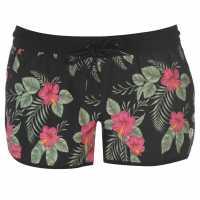 Gul Дамски Бермуди Board Shorts Ladies Black Flower Дамски бански