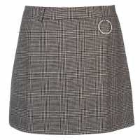 Full Circle Dog Tooth Mini Skirt Black Дамски поли и рокли