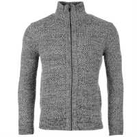Tommy Hilfiger Плетен Пуловер С Цип Hilfiger Full Zip Through Knit Jumper Grey Marl Мъжки пуловери и жилетки