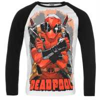 Character Мъжка Блуза Deadpool Long Sleeve T Shirt Mens