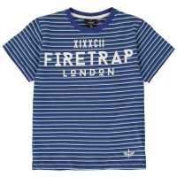 Firetrap Детска Тениска Къс Ръкав Short Sleeve T Shirt Junior Boys Blue Stripe Детски тениски и фланелки
