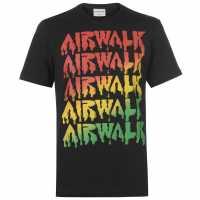 Airwalk Мъжка Тениска Drip Logo T Shirt Mens Black Мъжки тениски и фланелки