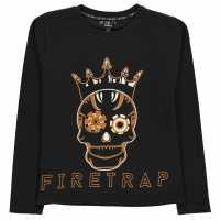 Firetrap Тениска Момчета Long Sleeve T Shirt Junior Boys Black Skull Детски тениски и фланелки