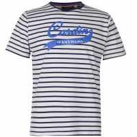 Pierre Cardin Мъжка Тениска Striped Jeans Wear T Shirt Mens White/Navy Мъжки тениски и фланелки
