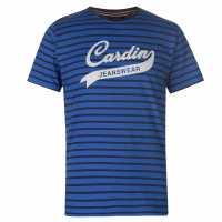Pierre Cardin Мъжка Тениска Striped Jeans Wear T Shirt Mens Mid Blue/Navy Мъжки тениски и фланелки