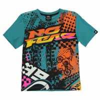 No Fear Тениска Момчета С Щампа Moto Graphic T Shirt Junior Boys Teal/Tyre Mash Детски тениски и фланелки
