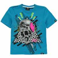 No Fear Тениска Момчета С Щампа Moto Graphic T Shirt Junior Boys Cobalt Skull Детски тениски и фланелки