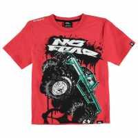 No Fear Тениска Момчета С Щампа Moto Graphic T Shirt Junior Boys Red Monster Детски тениски и фланелки