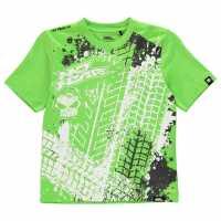 No Fear Тениска Момчета С Щампа Core Graphic T Shirt Junior Boys Green/Tyres Детски тениски и фланелки