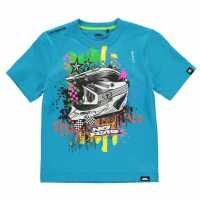 No Fear Тениска Момчета С Щампа Core Graphic T Shirt Junior Boys Blue/Helmet Детски тениски и фланелки