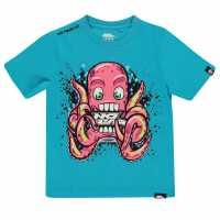 No Fear Тениска Момчета С Щампа Core Graphic T Shirt Junior Boys Blue Octopus Детски тениски и фланелки