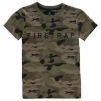 Firetrap Детска Тениска Къс Ръкав Short Sleeve T Shirt Junior Boys Camo AOP Детски тениски и фланелки