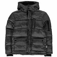Lee Cooper Яке Момчета Aop Long Jacket Junior Boys Charcoal Детски якета и палта