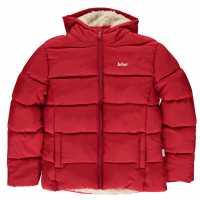 Lee Cooper Яке Момичета 2 Zip Bubble Jacket Junior Girls Bright Red Детски якета и палта