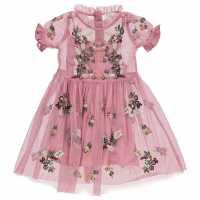 Crafted Embroidered Dress Child Girls Pink Детски поли и рокли