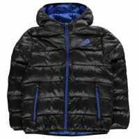 Adidas Ватирано Яке Padded Jacket Junior Black/Blue Детски якета и палта