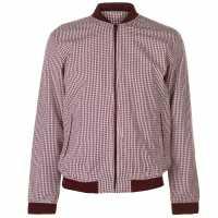 Pierre Cardin Мъжко Яке Бомбър Seer Bomber Jacket Mens Burgundy/White Мъжки якета и палта