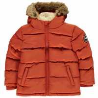 Soulcal Детско Пухено Яке Boys 2 Zip Bubble Jacket Junior Orange Детски якета и палта